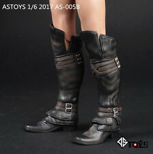 "New 1/6 Scale Black Leather Man Boots Shoes For 12"" Male Action Figure Body Toys"