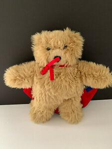 VERMONT TEDDY BEAR   FLAT LIGHT BROWN TAKE ALONG TEDDY  BLUE/RED CAPE  SHAGGYFUR