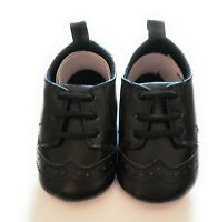 Little Treasures Baby Boys Size 0-6 Months Black Classic Suede Brogue Shoes