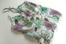 WESC Ladies Vest Top Floral Summer Surf, White Purple Green, Womens UK XS 8