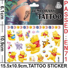 Winnie The Pooh Temporary Tattoo Sheets Children Kids Birthday Party Bag Filler
