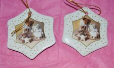 """2003 Boyds 2 Holiday Bears Porcelain Ornaments. """"Wishing You A Heavenly Holiday"""""""