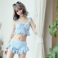 Lady Girls Sweet Lolita Swimsuits Sexy Ruffle Bikini Swimwear Bra&Panties Kawaii