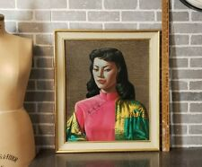 ORIGINAL Vintage 50s 60s TRETCHIKOFF Faux Gold Bamboo Frame MISS WONG Print MCM