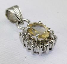 CITRINE WHITE QUARTZ PENDANT 925 STERLING SILVER ARTISAN JEWELRY COLLECTION H107