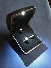 FINE Black LEATHER BRIDAL ENGAGEMENT RING WEDDING BAND BOX with LED GIFT BOX