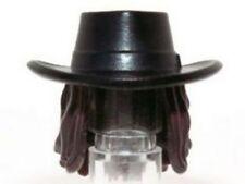 LEGO - Minifig, Headgear Hat / Hair, Gambler Style Cowboy w/ Dark Brown Hair