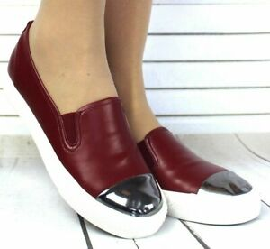 WOMENS BURGUNDY SLIP ON FLAT ELASTICATED SKATER TRAINERS PUMPS SHOES SIZE UK 3