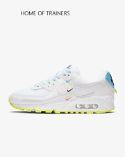 Nike Air Max 90 NS SE White Blue Fury Volt Girls Women's Trainers All Sizes