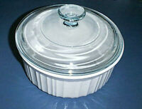 CORNING WARE 1 1/2 Qt Casserole Bowl Baking Dish FRENCH WHITE & PYREX Glass Lid