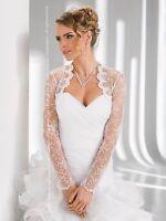 Women Wedding Ivory or White Bridal Lace Bolero Jacket with Long Sleeve B-16