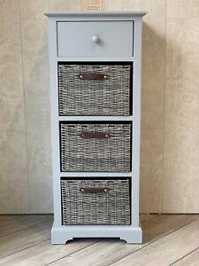 Grey Modern Sleek Storage Unit Drawers Wicker Baskets Office Bedroom Living Room