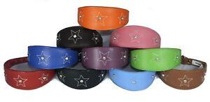Whippet Leather Collar Greyhound Collar Padded 3 Diamante Star Stitch Design