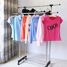 Double Rolling Rail Adjustable Portable Clothes Garment Rack Hanger