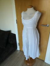 Ladies Dress Size 10 White Cotton Summer Smart Casual Day Summer Boho Festival