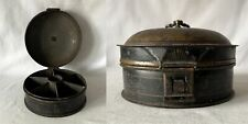 More details for large unusual georgian metal spice tin - 6 internally separated compartments