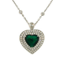 4.47-ct Emerald 1.59 cts Diamond White Gold Heart Pendant  NECKLACE Italy