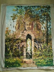 Original Oil Painting Singed Oil on Fabric Panting , Buddha Asian Scenery
