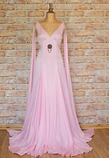 Womens Silk Dress Gown Victorian Style Evening Wedding Party Grecian UK 10/12