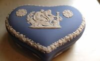 Vintage Wedgwood Jasperware Sweetheart Trinket Heart Jewelry  Box Blue White
