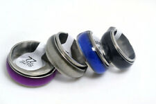 20pcs Lots 10MM Cat-eye Enamel Top Stainless steel 2 Layers Spinner Band Ring