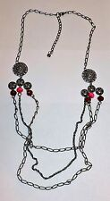 2315~Well Made Pewter Tone Chain & Medallion Red Pink Bead Fashion Necklace**