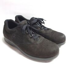 SAS Free Time Black Suede Leather Oxford Comfort Shoes Womens 7.5 N Narrow Flats