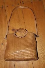 FOSSIL Brown Woven Leather Shoulder Hand Bag With Oblong Handle 75082 3 Sections