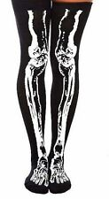 "1 Pair HOT TOPIC Over The Knee Skeleton ""Glows in the Dark"" Costume Socks"