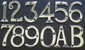 """2"""" / 50 mm CHROME PLATED METAL DOOR NUMBERS 1,2,3,4,5,6,7,8,9,0 + Letters A B."""