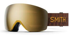 Smith Skyline Snow Goggles Amber Textile Frame, Sun Black Gold Mirror Lens New