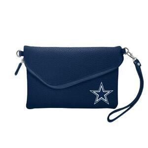 Dallas Cowboys Pebble Fold Over Crossbody Purse [NEW] Bag Strap Clutch Hand
