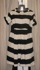 COS Cotton Dress Black & Cream Horizontal Stripe Tea Dress Sz 38 UK 10 VGC