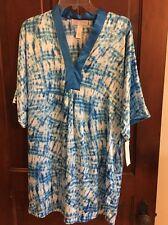 Oscar de la Renta Short Caftan Nightgown Nightshirt Seaside Breeze 683083 Small