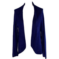 Chicos 1 Womens Cardigan Sweater Open Front Blue Ribbed Knit Shawl Size Medium