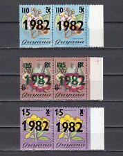 Guyana, Scott cat  464-466e. Flowers o/p 1982 in pairs. Scarce item as such.