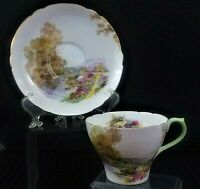 """VTG. COLLECTIBLE SHELLEY """"HEATHER"""" TEACUP & SAUCER MADE IN ENGLAND BEAUTIFUL!"""