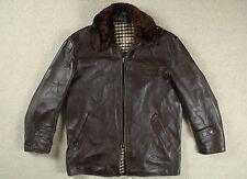 Vintage 50 S French Horsehide Leather Barnstormer Veste de moto manteau court 42