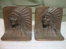 Antique Bronzmet Cast Iron Native American Indian Chief Bookends