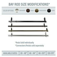 Bay Window / Corner Window Single Curtain Rod, choose from 4 sizes & 4 colors