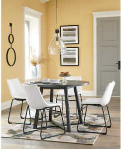 Signature Design by Ashley Centiar Mid Century Round Dining Room Table, Gray &