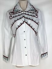 Roja Western Spanish Shirt Embroidered White Long Sleeve Turquoise Snap Small S