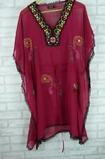 TIMELESS BY VANESSA TONG Kaftan Dress Sz 14 Maroon, Black Embroidered Print
