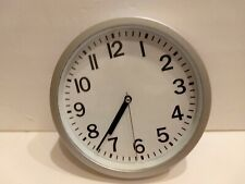 Traditional 9 Round Wall Clock  Silver