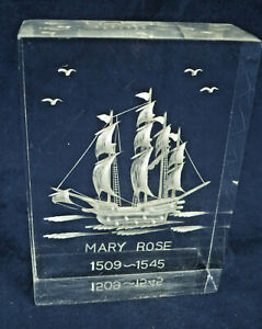 Mary Rose Acrylic Block Paperweight 3D Effect Reversed Carved Tudor Warship