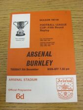 05/12/1967 Arsenal v Burnley [Football League Cup Replay] (Small Number Noted On