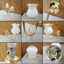 *Used* Lovely Brass Effect Home ▪WALL LIGHT▪ Glass Curvey Shade~1 Arm~Bulb~Decor
