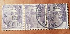 GM7 France 5f Violet Marianne CANCILLATION 1952 USED 3 STAMP