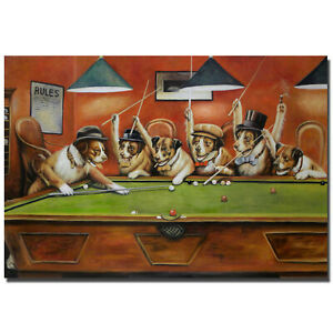 Reprint For Dog Paintings Dogs Playing Pool Art Fabric Poster HD Painting