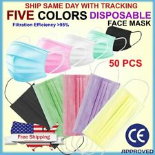 Three Ply 50 PCS Disposable Face Mask Non Medical Surgical 5 Colors Mouth Cover